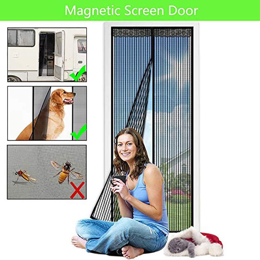 UNILIFE Mosquitera Magn/ética para Puerta Negro Mosquitera Puertas con Cortina De Malla Resistente Y Velcro De Marco Completo para Mascotas Y Ni/ños