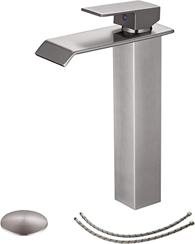 BWE Vessel Sink Faucet with Drain Assembly and Supply Hose Lead-Free Lavatory Waterfall Bathroom Faucet Single Handle Mixer Tap Deck Mounted Brushed Nickel