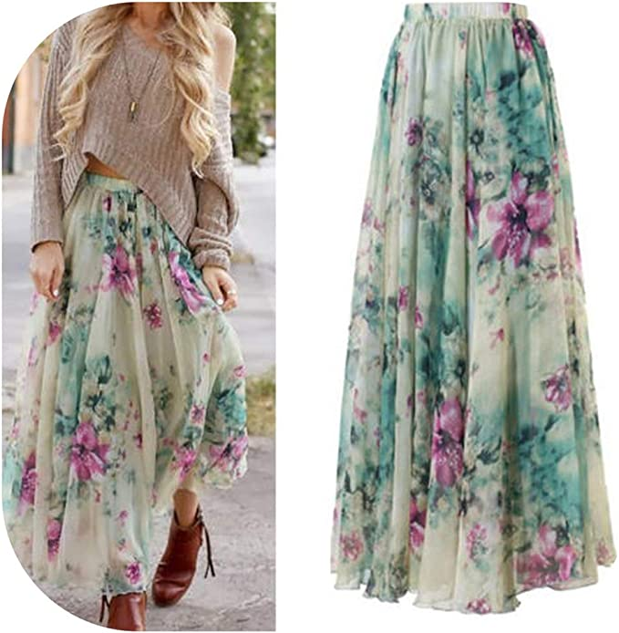 Womens Jersey Long Stretch Maxi Print Pattern Gypsy Summer Bodycon Skirt Dress