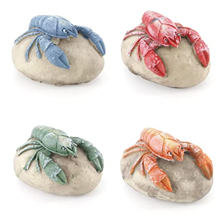 FUN Nautical Mediterranean Beach Lobster Stone Home Decor Ornament ONE SET OF 4 PIECES, ONE SIZE FOR 4 COLORS