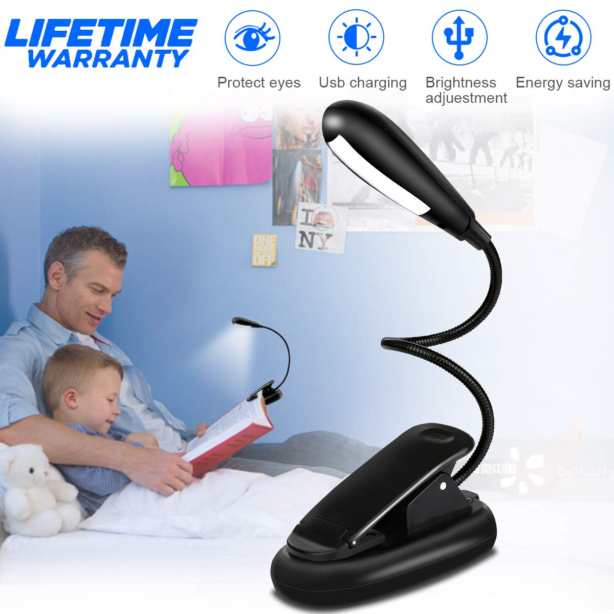Rechargeable LED Book Light, Eye-Care Reading Light 7 LED Night Light 3 Level Brightness Reading Lamp Cool and Warm for Night Reading, Camping, Fishing, Kids Reading, Bedroom