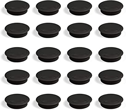 EMUCA - Pasacables de Mesa Circular Ø60mm de plástico Negro, Tapa ...