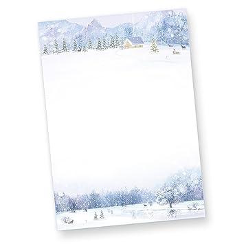 Briefpapier Weiße Weihnacht 50 Blatt Weihnachtsbriefpapier Bedruckt