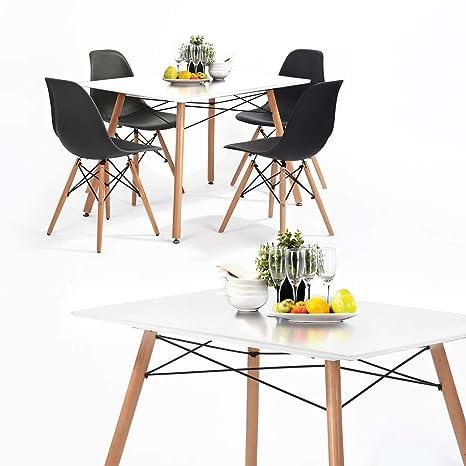 HJ WeDoo Tavolo da Pranzo Rettangolare, Tavolo Cucina Design Moderno MDF  Gambe in Legno 110 x 70 x 73 cm Bianco