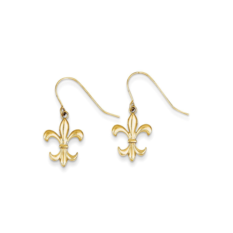 Roy Rose Jewelry 14K Yellow Gold Polished Fleur de lis Dangle Earrings