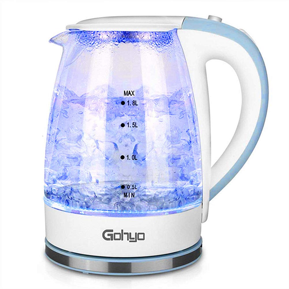 Gohyo Glass Electric Tea Kettle for Fast Boiling Hot Water Pot with Auto Shut off  ( White and Blue )