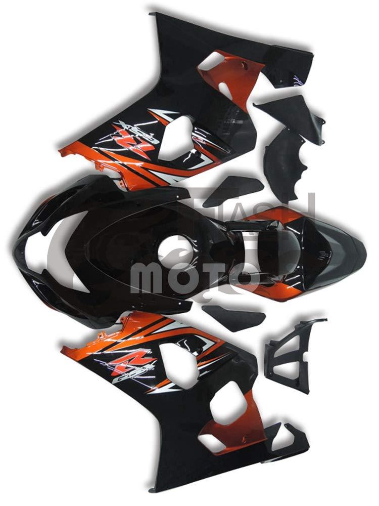 FlashMoto suzuki 鈴木 スズキ GSX-R600 GSX-R750 K4 2004 2005用フェアリング 塗装済 オートバイ用射出成型ABS樹脂ボディワークのフェアリングキットセット (オレンジ,ブラック)   B07MKCP3TT