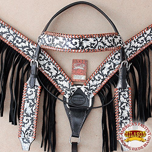 (HILASON American Leather Headstall Breast Collar Horse Fringes Off White )