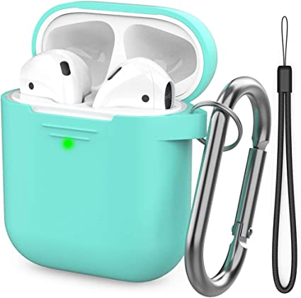 AhaStyle AirPods Case Cover Premium Silicone Protective Cover Skin Accessories [Hand Strap Included] Compatible with AirPods 2 & 1(Mint Green)