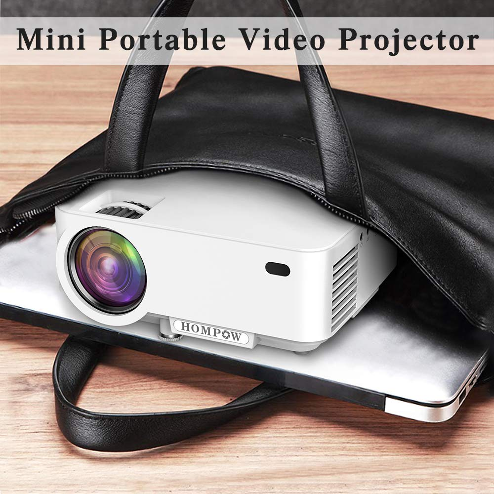 Mini Projector - 2400Lux Hompow Smartphone Portable Video Projector 1080P Supported 176'' Display, 50,000 Hours Led, Compatible with TV Stick/HDMI/VGA/USB/TV Box/Laptop/DVD/PS4 for Home Entertainment by Hompow (Image #5)