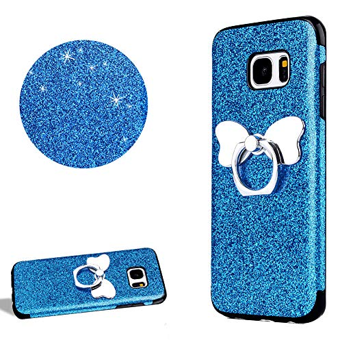 (DasKAn Bling Glitter Hybrid Silicone Phone Case for Samsung Galaxy S7 Edge with Ring Holder,Shiny Soft Rubber Bumper Back Cover Slim Fit Shockproof Flexible Gel TPU Protective Skin Shell,Blue#2)