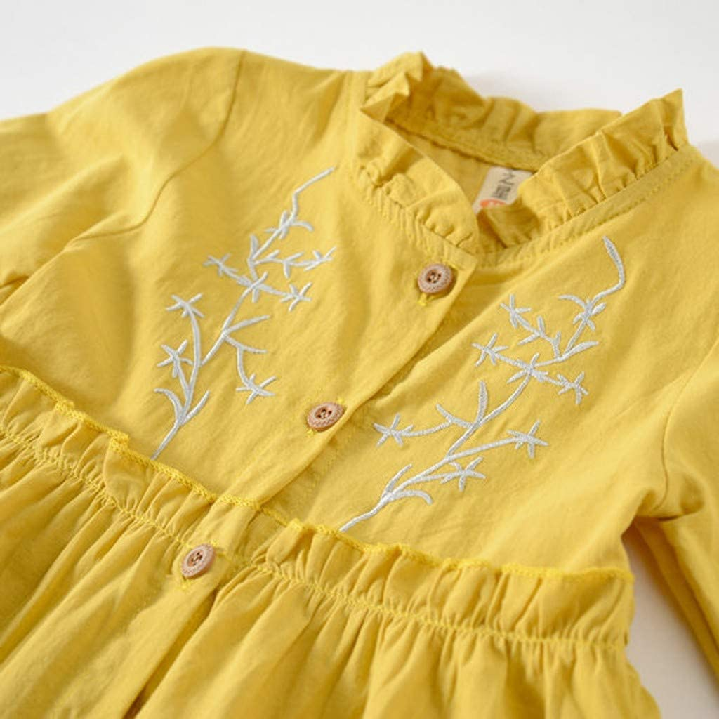 Spring Princess Girls Dress Baby Kids Little Girls Long Sleeve Solid Color Ruched Floral Party Casual Dress TM Jchen