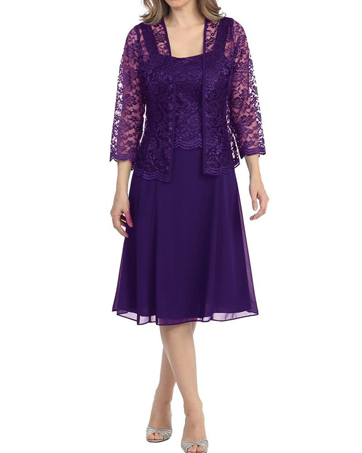 Purple Womens Short Mother of the Bride Plus Size Formal Lace Dress with Jacket Dark Purple US28