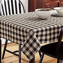 VHC Brands Classic Country Primitive Tabletop & Kitchen - Burlap Black Check Black Table Topper