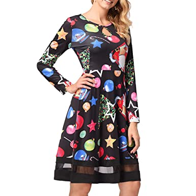 Howley Dress Women Casual Skirt Ball Gown Xmas Gift Long Sleeve Vintage Christmas Printed Mesh Dress