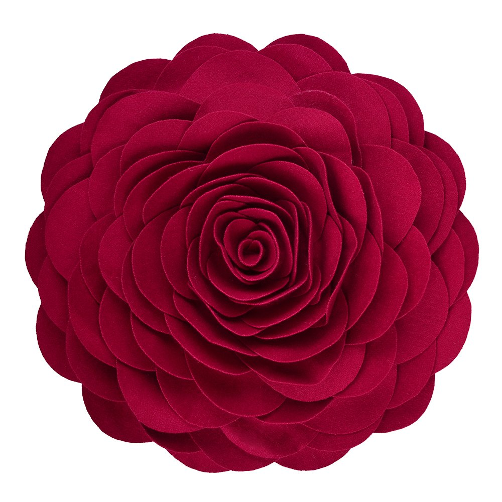KING Rose Handmade 3D Flower Decorative Throw Pillow Wool Cushion for Bed Living Room Wedding 14 Inches Round Red