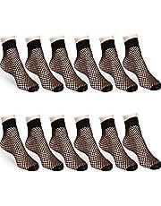 12 Pairs Fishnet Ankle Socks Lace Hollow Short Socks Black Mesh Net Dress Socks