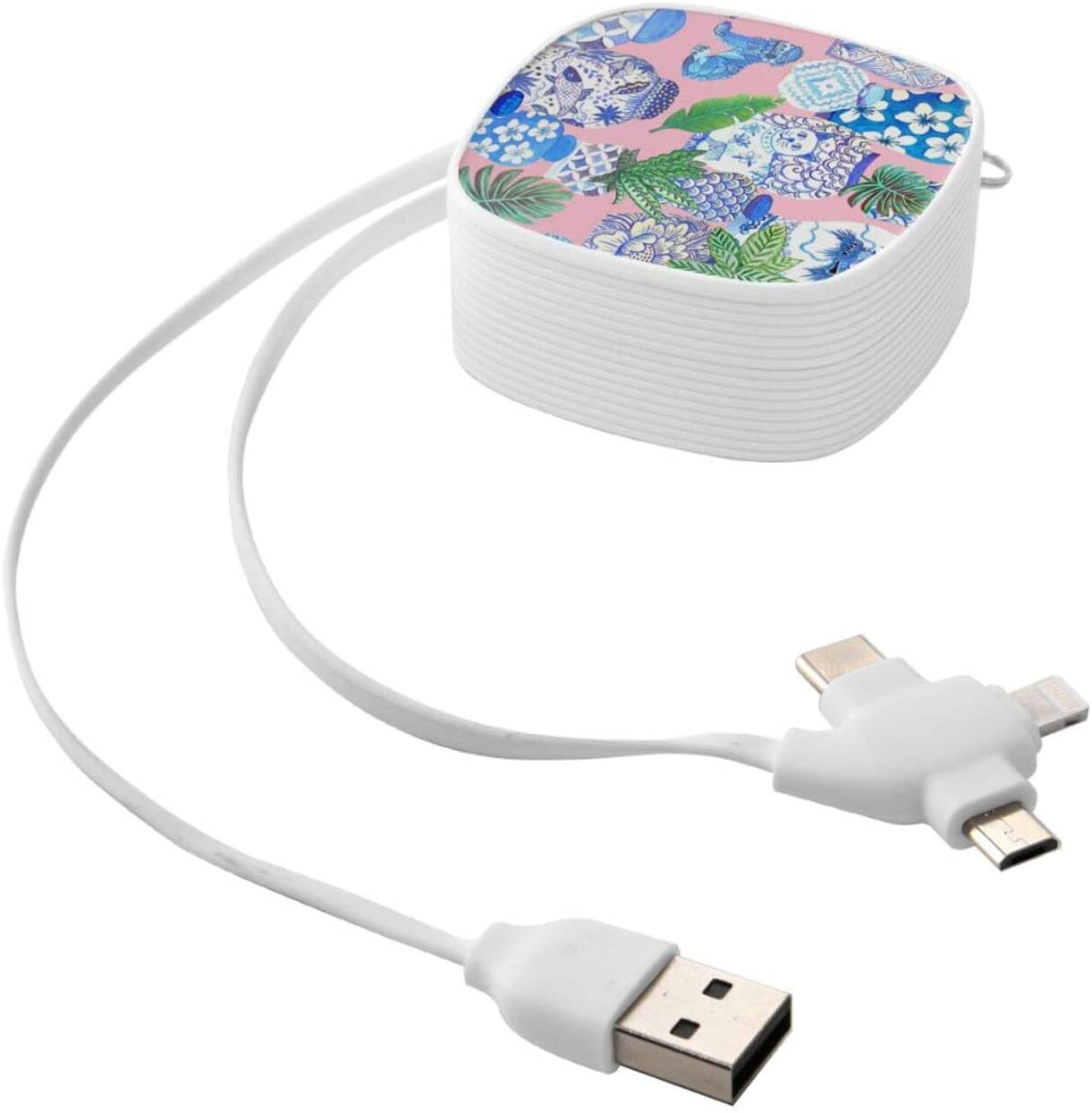 Multi Charging Cable Portable 3 in 1 Chinese Ginger Jars and Foo Dogs with Palms Throw Pillow USB Power Cords for Cell Phone Tablets and More Devices Charging
