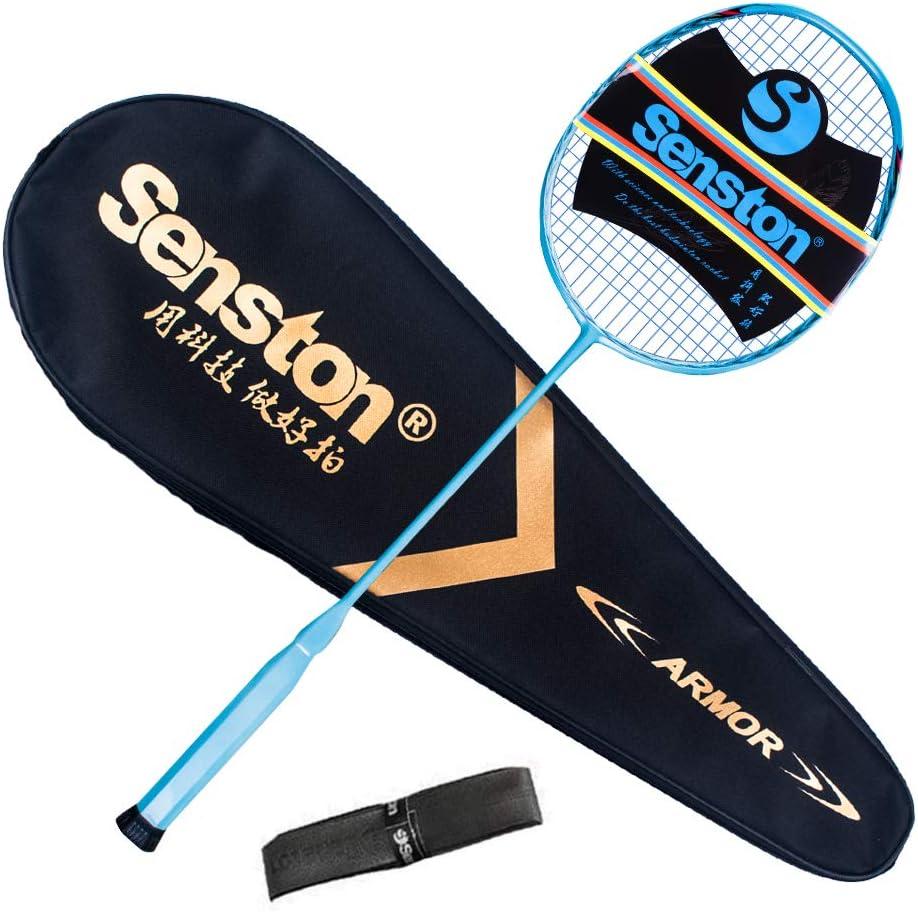 Senston Carbon Badmintonschl/äger N80YTP Ultraleicht Profi 6U Graphit Badminton Schl/äger mit Schl/ägertasche