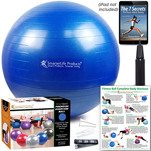 Exercise Ball for Yoga, Balance, Stability from SmarterLife - Fitness, Pilates, Birthing, Therapy, Office Ball Chair, Classroom Flexible Seating - Anti Burst, Non Slip + Workout Guide (Blue, 65cm) by SmarterLife Products (Image #4)