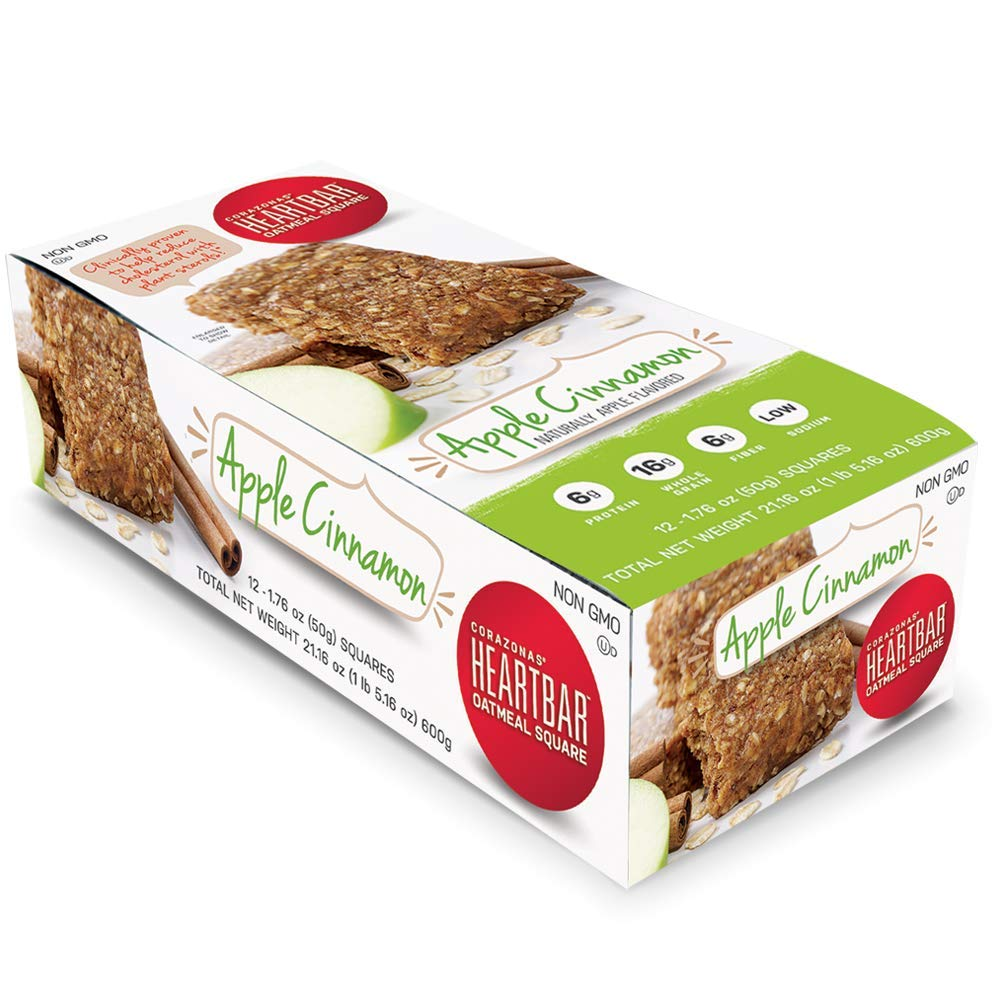 Corazonas Heartbar Oatmeal Square, Apple Cinnamon, 1.76 Ounce, 12 Count (Packaging may vary)