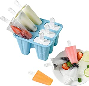 Popsicle Mould,Popsicle Maker Popsicle Molds 6 Pieces Silicone Ice Pop Molds BPA Free Popsicle Mold Reusable Easy Release Ice Pop Make (Blue)