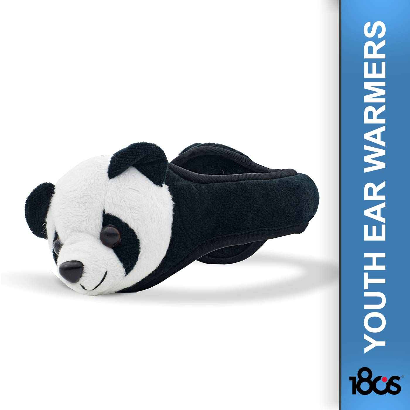180S Youth and Kids Panda Plush Thermo Insulated Ear Warmers - Adjustable Size, Black/White