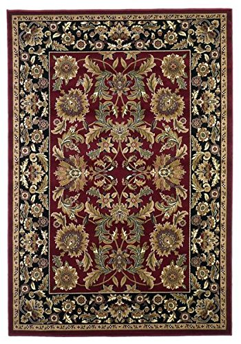 Kas Rugs 7301 Cambridge Kashan Area Rug, 3-Feet 3-Inch by 4-Feet 11-Inch, Red/Black