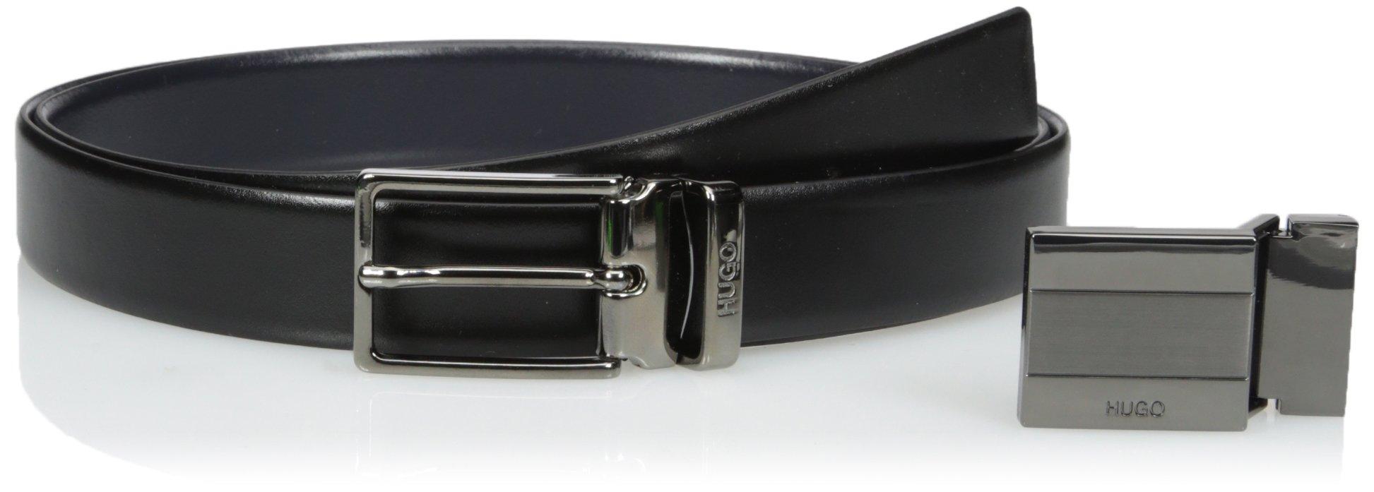 HUGO by Hugo Boss Men's Gerk Reversible Italian Leather Belt Gift Box Set, Black, One Size