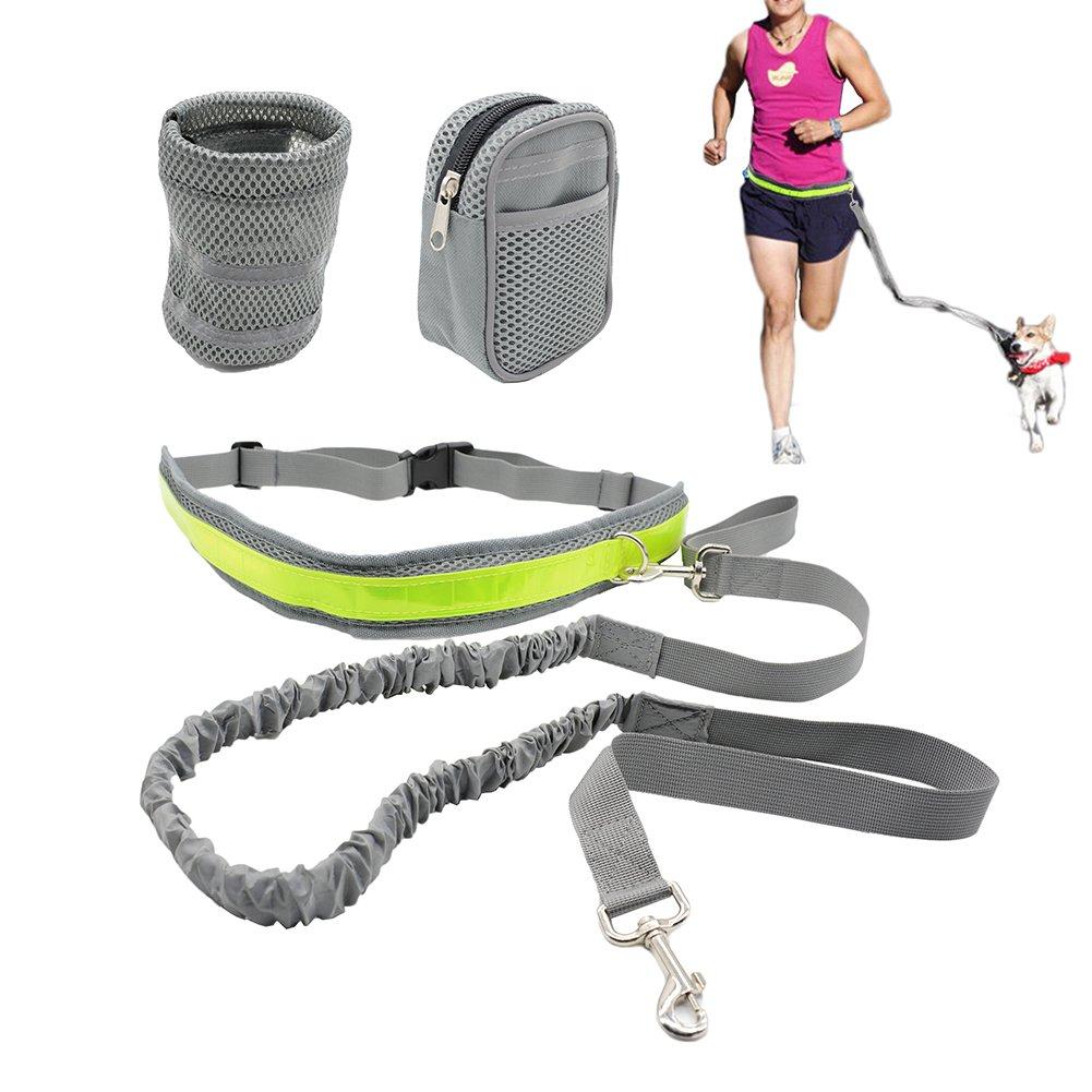 Ceinture laisse pour chien mains libres Rétractable avec 2sacs pour course à pied, marche, randonnée, vélo randonnée vélo ANBOW
