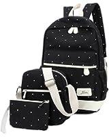 YAAGLE Canvas School Student Shoulder Bag Backpack Rucksack for Boys and Girls 3pcs