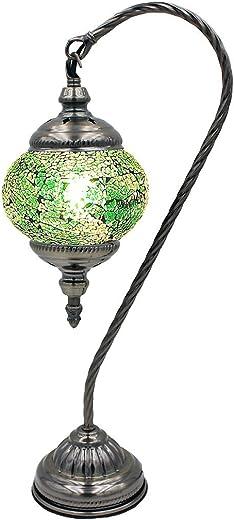 SILVERFEVER Mosaic Turkish Lamp Moroccan Glass Swan Neck Lantern