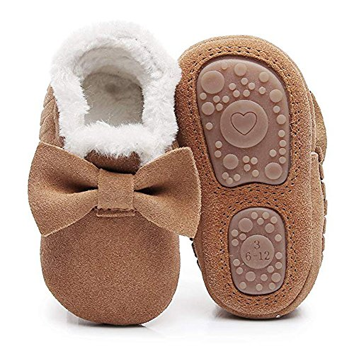 HONGTEYA Baby Moccasins with Fur Fleece Rubber Soles Warm Snow Boots Leather Baby Shoes for Boys Girls (Toddler/2-3 Years/US 9.5/6.29'', Bow-Brown) ()