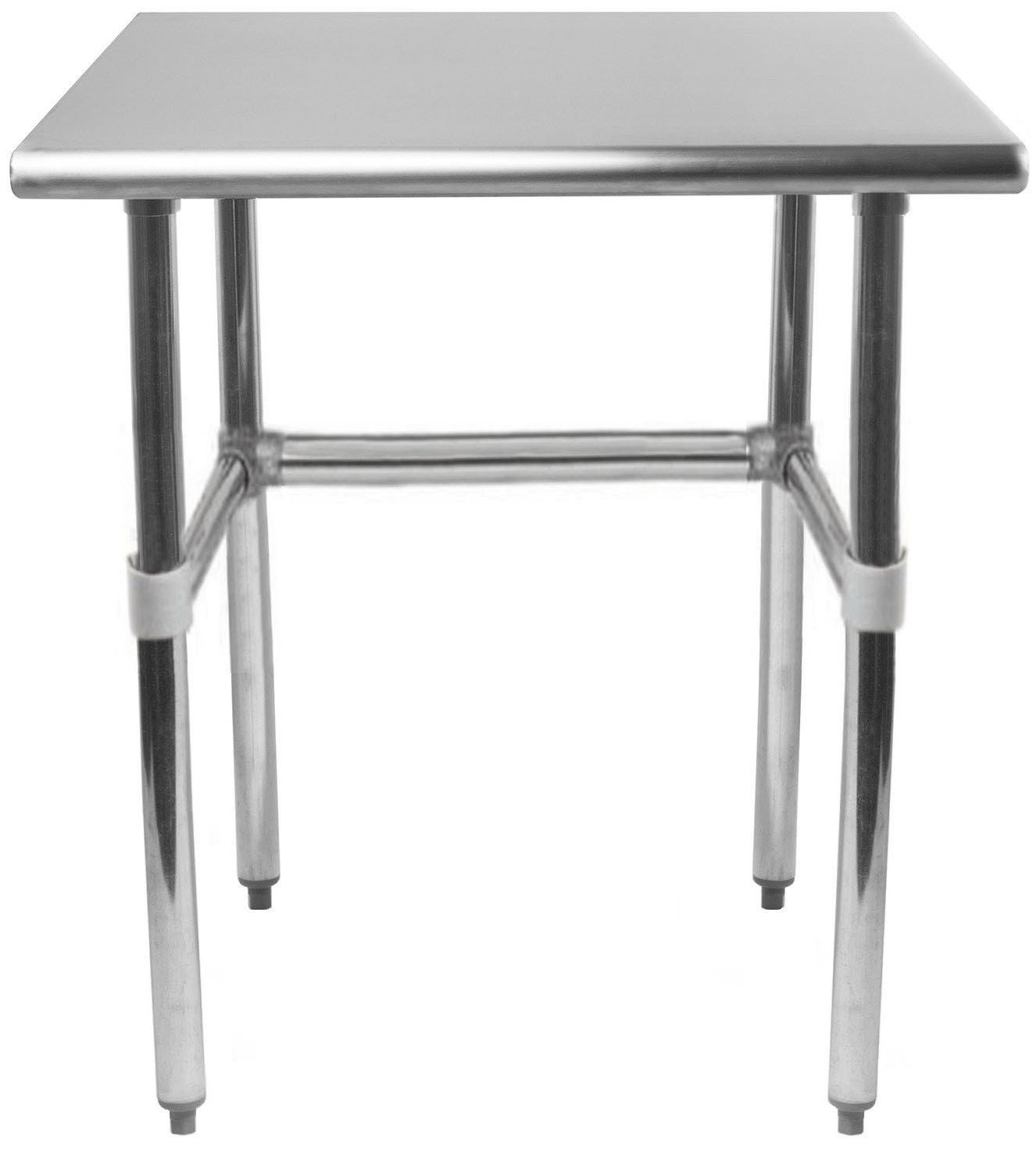 AmGood 24'' X 24'' Stainless Steel Work Table Open Base | NSF Kitchen Island Food Prep | Laundry Garage Utility Bench