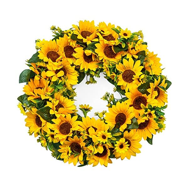 LASPERAL Artificial Sunflower Wreath Summer Wreath – 15″ Decorative Fake Flower Wreath with Yellow Sunflower and Green Leaves for Front Door Indoor Wall Décor