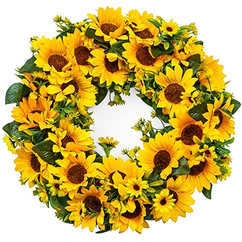 Hoomall 15 Inch Wreath Floral Fall Door Wreath Artificial Flower Wreath for Front Door Decorative Festivals Door Hanging Home & Party Decoration Home Relaxed Decor Inside Outside (Yellow-Sunflower)