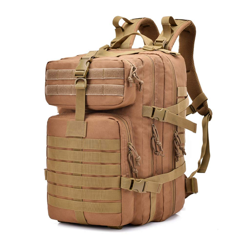 FuriGer Military Expandable Travel Backpack Tactical Waterproof Outdoor 3-Day Bag, Bug Out Bag Small Rucksack for Hiking,Camping,Trekking,Outdoor Sports,Work-Brown