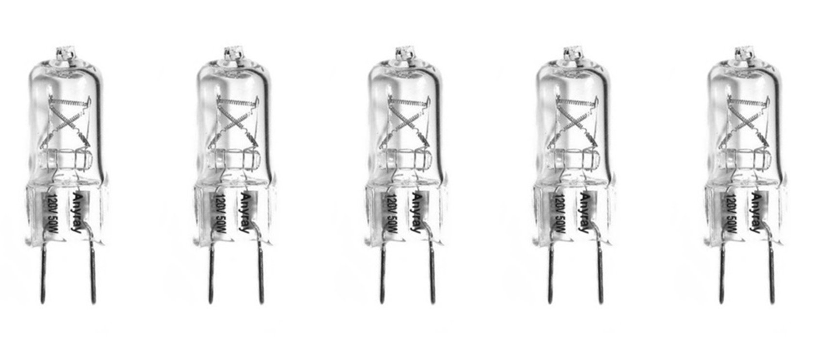 (5-Pack) G8 Lighting Halogen Bulbs, JCD Type, G8 Base, 120V 50W, Set of 5