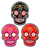 Nipitshop Patches Set 3 Pcs Skull Excellent Detail Patch Mexican Sugar Skull Day of The Dead Skull Design Fantasy Embroidered Patch for Clothes Costume or Gift