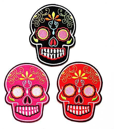 Nipitshop Patches Set 3 Pcs Skull Excellent Detail Patch Mexican Sugar Skull DAY of The DEAD Skull design fantasy Embroidered Patch for Clothes Costume or (Fantasy Costumes Australia)
