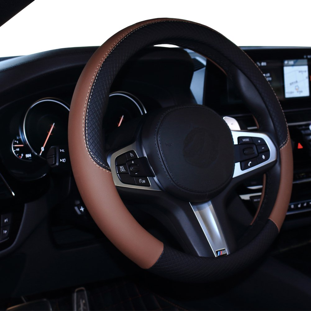 Leather Universal 15 Inch Fit SHIAWASENA Car Steering Wheel Cover Black/&Purple Anti-Slip /& Odor-Free