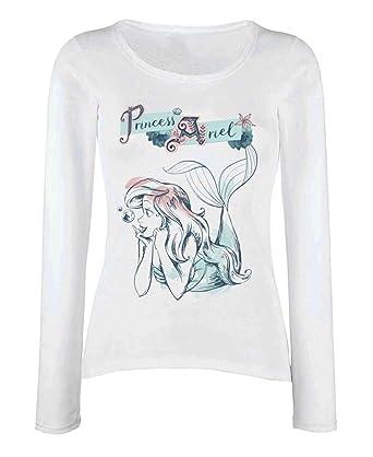 Amazon.com  Princess Ariel T Shirt Pastel Wash Official Disney Womens White Long  Sleeve  Clothing 66f001f423