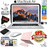 Apple 13.3 MacBook Air 128GB SSD MQD32LL/A + iBenzer Basic Soft-Touch Series Plastic Hard Case & Keyboard Cover for Apple Macbook Air 13-inch 13 (Pink) + 3 Foot Lightning USB Cable 1 Meter Bundle