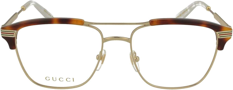 Gucci GG 0241O 001 Gold Light Havana Plastic Rectangle Eyeglasses 54mm