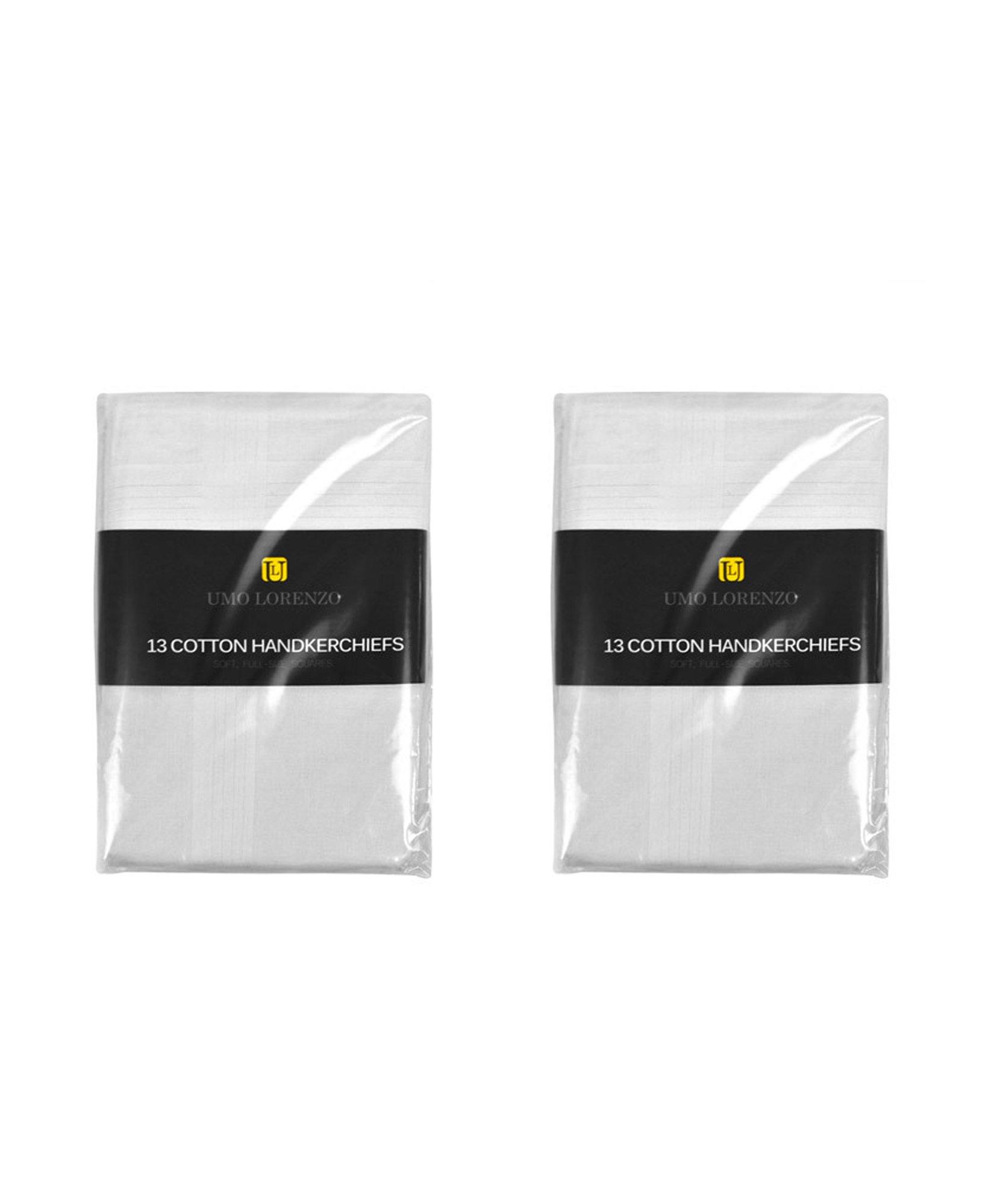 Men's Cotton Handkerchief Multi-Pack by Umo Lorenzo in White (One Size, H013-2pk)
