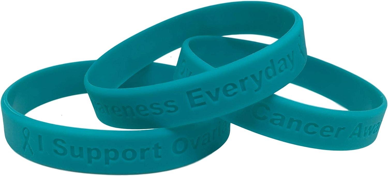 Amazon Com 2 Teal Ovarian Cancer Awareness I Support Ovarian Cancer Awareness Everyday 100 Medical Grade Silicone Bracelets 2 Bracelets Everything Else