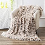 Ojia Super Soft Fuzzy Shaggy Mongolian Lamb Throw Blanket Plush Warm Fluffy Cozy Elegant Long Faux Fur Blanket Bedding Cover Chic Decorative For Bedroom Sofa Floor(50 x 60 Inch, Light Coffee)