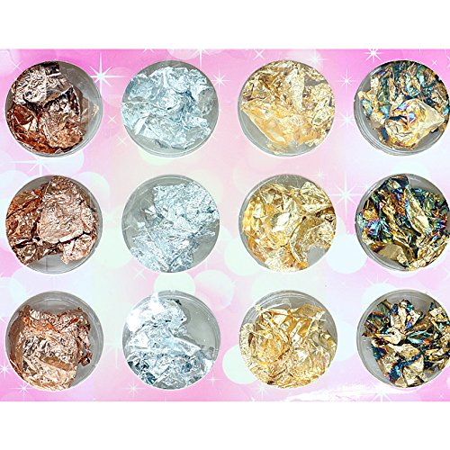 Foil Kit Copper (IDS 12 Boxes Gold Silver Copper Rainbow Foil Paillette Chip Nail Art Design Decoration)