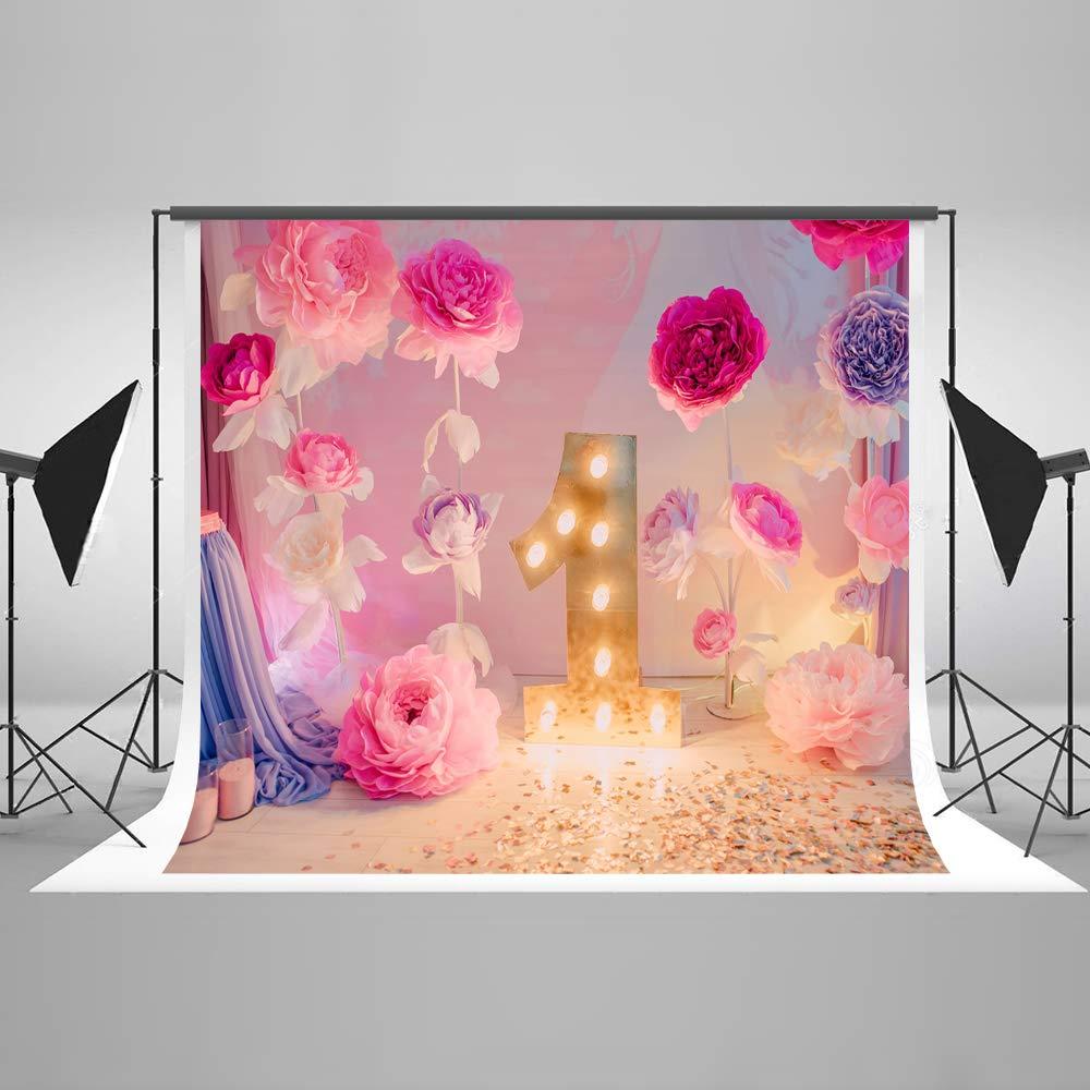 KateHome PHOTOSTUDIOS 2x2m Fondo de Microfibra de cumpleaños Fondo de telón de Fondo recién Nacido Flores para niños Decoración de Fiestas bebés ...