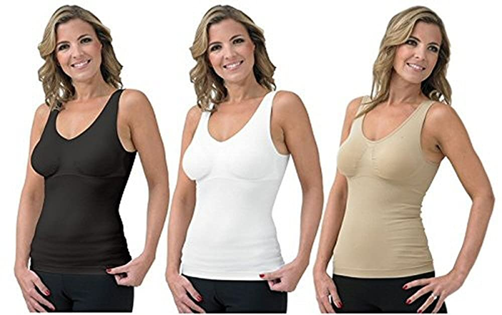 Cami Shaper with Built in Comfort Bra 3 in 1 Camisole Bra Shaper 3 PACK WHITE/BLACK/NUDE etail